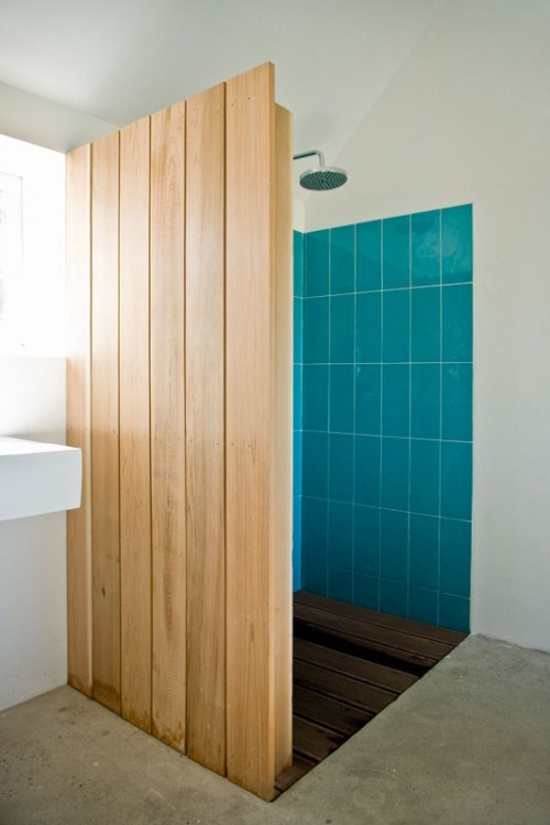 wooden wall and teal tiles, perfect beach house indoor shower