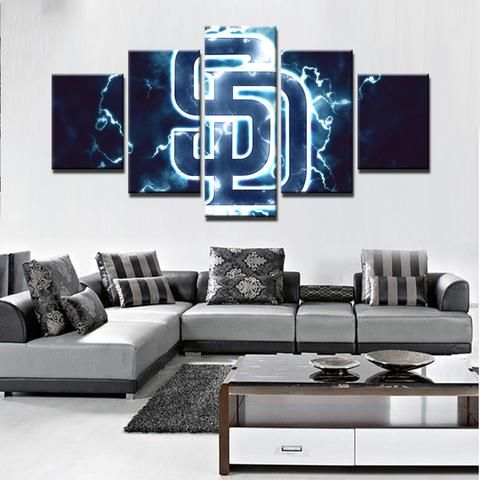 San Diego Padres MLB Baseball 5 Panel Canvas Wall Art Home Decor