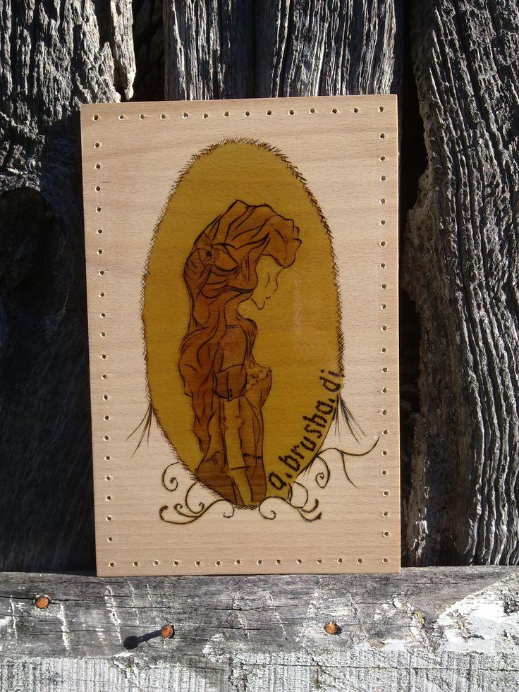 bolso madera pirograbado