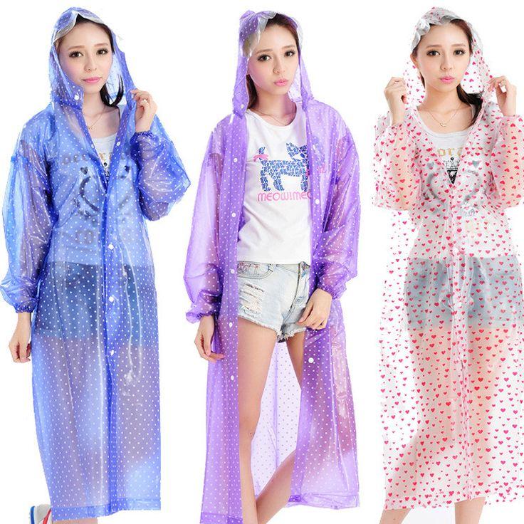 Мода Стиль 6 цвет Продажи Прозрачный Плащ Женщины Дождь ponchot Прозрачный…