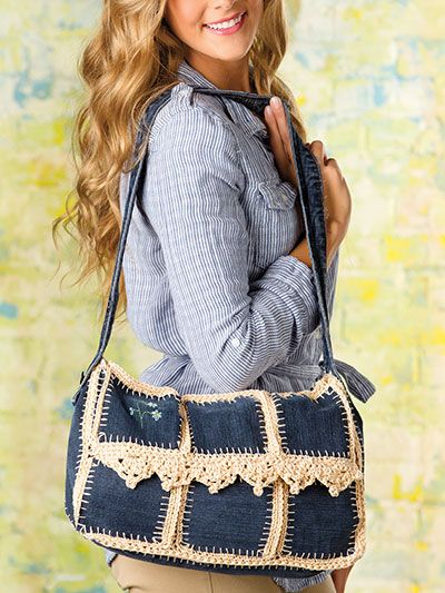 Crochet - Accessory Patterns - Handbags & Totes - Upcycled-Jean Messenger Bag