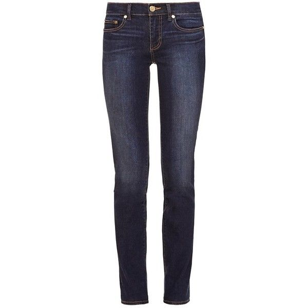 Tory Burch Super Skinny Jean In Resin Dark Fade ($185) ❤ liked on Polyvore featuring jeans, skinny jeans, slim fit jeans, blue jeans, dark-wash jeans and faded skinny jeans