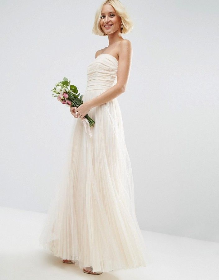 ASOS BRIDAL Ruched Mesh Bandeau Maxi Dress Beautiful Cream White Tulle Simple Wedding