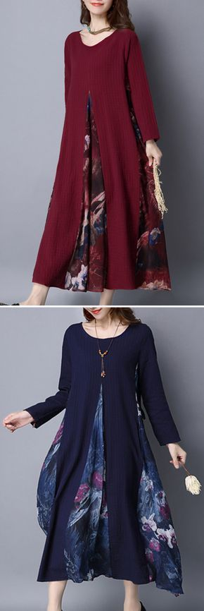 US$ 29.11 O-NEWE Ethnic Vintage Printed Patchwork Long Sleeve Maxi Dress For Women