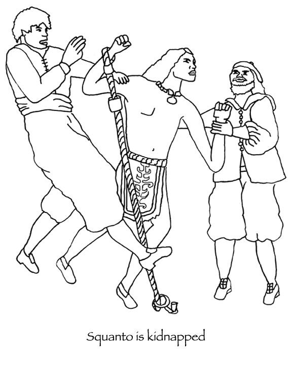 Many Hoops Thanksgiving Squanto coloring page