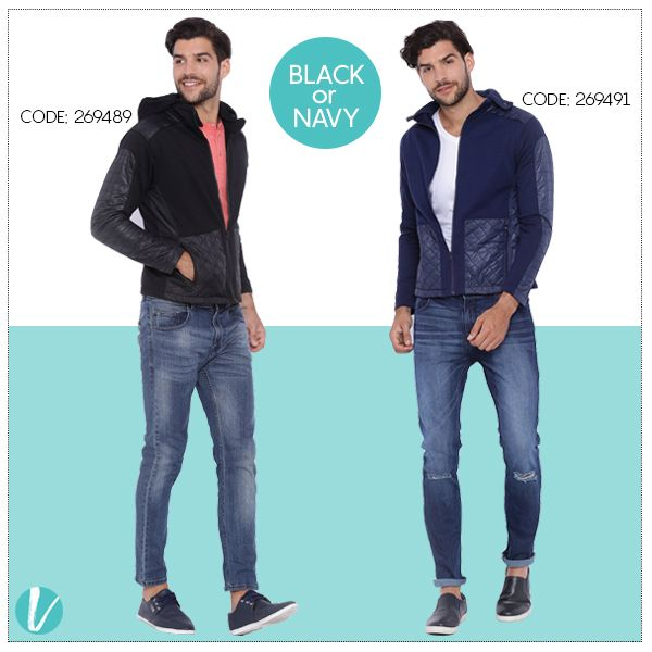 Stick to the Classics this Season! Shop the Jackets by Product Codes.  #jackets #quiltedjackets #campussutra #menswear #winterwear #premium #vilara