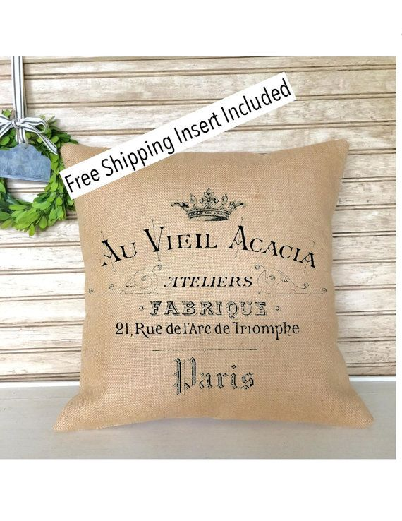 French Rustic Decor  Burlap Pillow  French by SimplyFrenchMarket