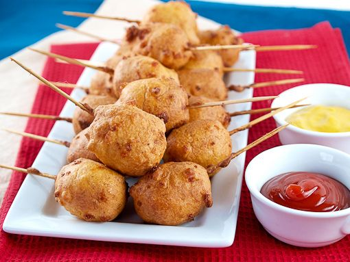 Mini-Corn Dogs by EvilShenanigans, via Flickr  I don't like corn dogs but my daughter does. She tried to make some the other day with not so great results. I think she said they wound up being hot dog corn pancakes. I think I can veganize this recipe pretty easily.
