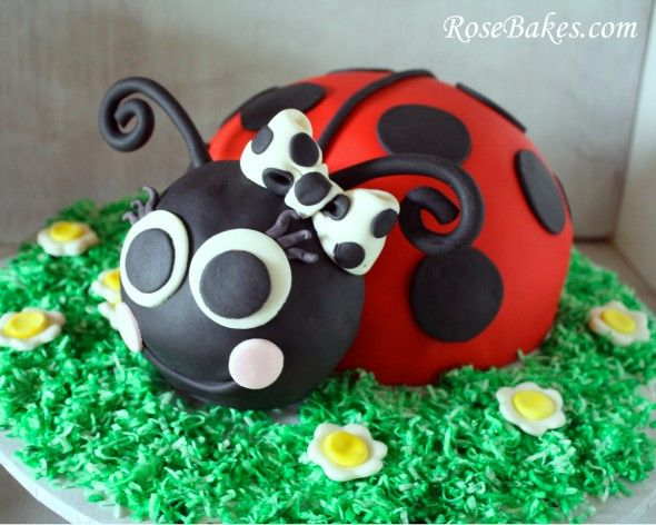 Ladybug Cake Black White Polka Dots Bow