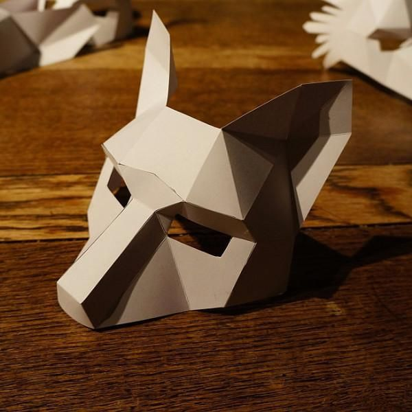 These plans enable you turn simplerecycled card into a 3D Low Polygon FoxHalfMask. Just print the templates on paper, stick them to card, cut them out, match