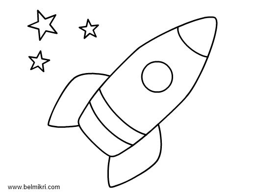 Rocket Coloring Page For Preschool