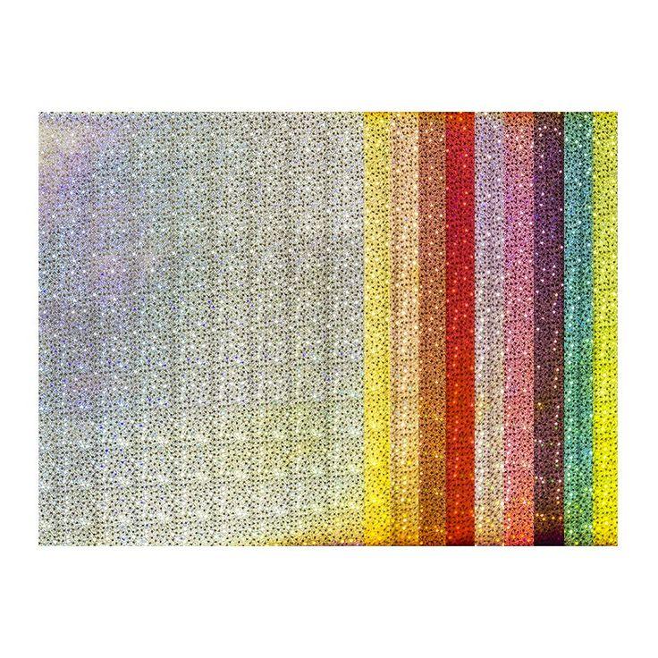 """10 Bogen selbstklebendes Deko-Papier mit Holografie-Effekt """"Laserstars"""" in 10 verschiedenen Farben, ca. 150 g/m², DIN A4."""