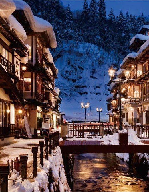 Ginzan Onsen, Obanazawa, Yamagata, Japan, spa, winter, snow