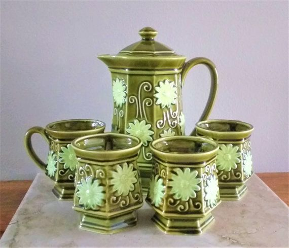 Olive green tea set  tea pot  tea cups  tea mugs by SumertaDesigns