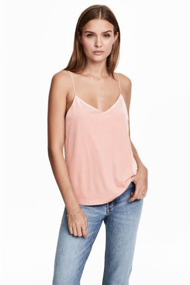 Velurové tílko - Pudrově růžová - ŽENY   H&M CZ 1