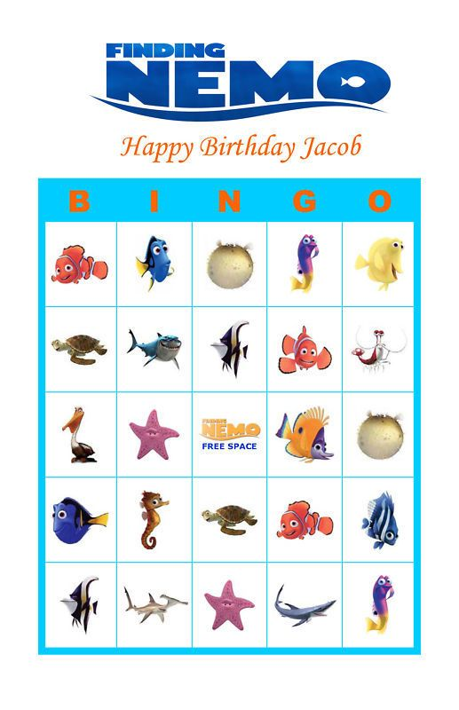 Finding Nemo Birthday Party Game Bingo Cards