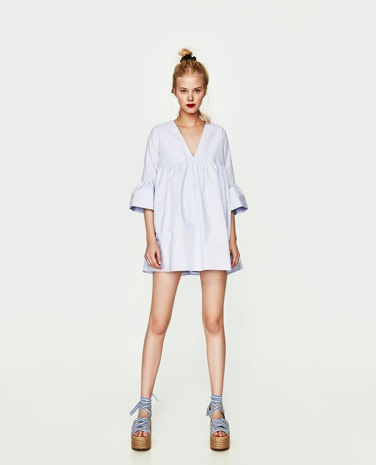 official new photos exquisite style Robe combinaison bleu zara – Robes populaires