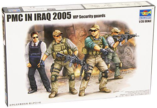 Trumpeter PMC VIP Protection Team in Iraq Figure Set (4-Pack), Scale 1/35:   This is a Trumpeter 1/35 Scale assembly and painting required plastic model kit of Iraq 2005 Private Military Company mercenaries figure set. Model kit features: 4 figure set (3 mecs and their VIP charge) molded in action poses and wearing mixed military and civilian gear, each has separate equipment and weapons. 109 parts on 6 sprues. Contains 4 lifelike figures. Additional equipments: duffle bags. Arms: M4-S...