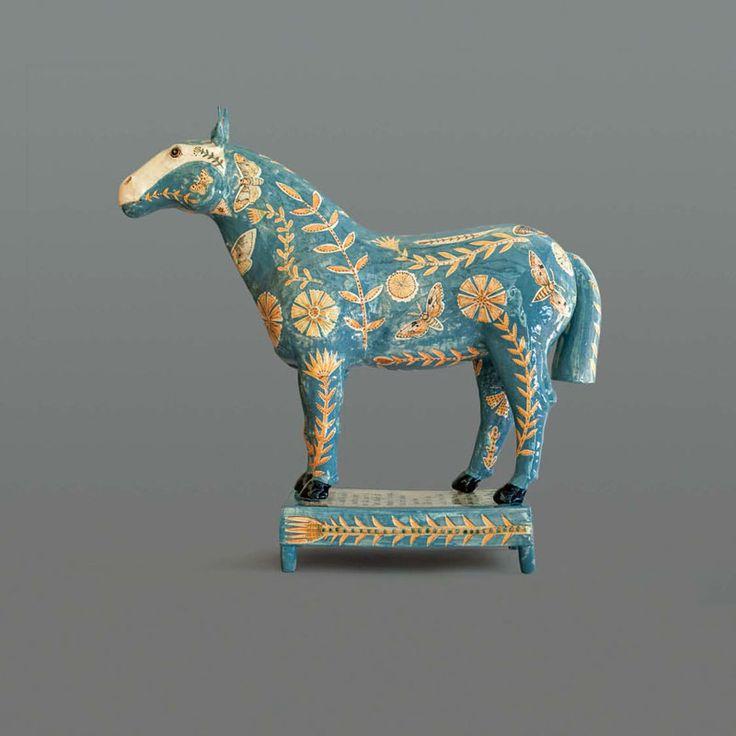 Georgina Warne, Horse Stoneware glazed with hand painted detail