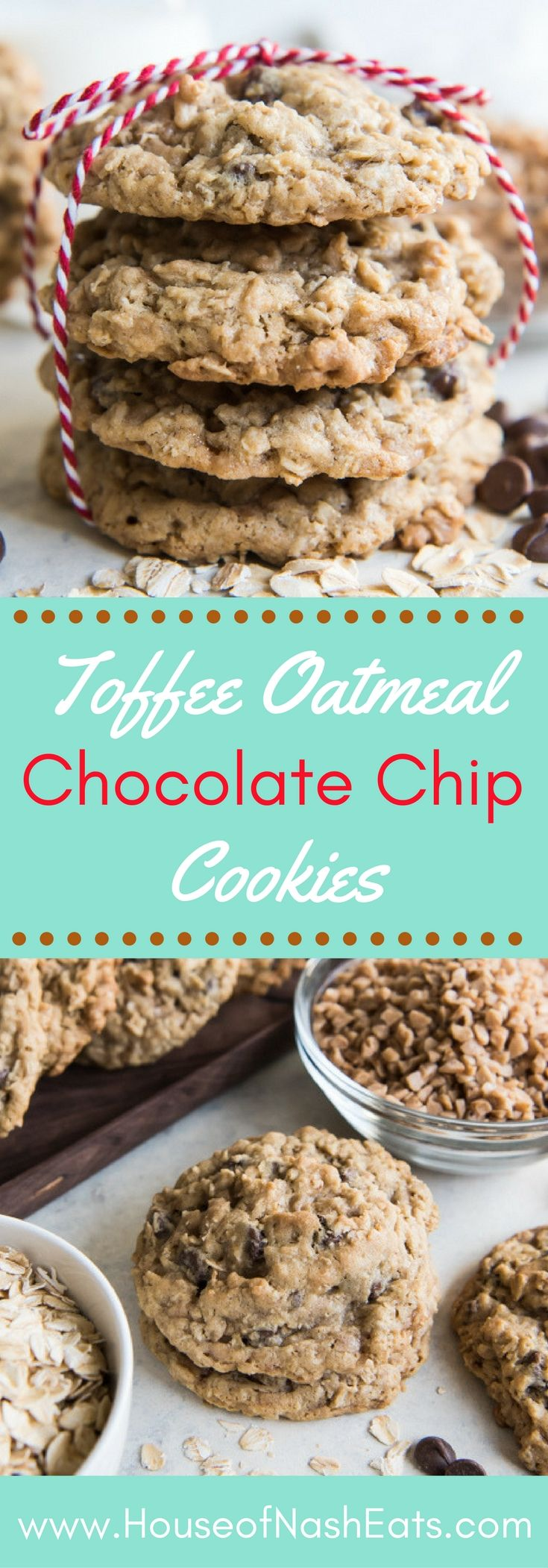 Toffee Oatmeal Chocolate Chip Cookies are hands down the best oatmeal cookie variation there is!Perfectly balanced flavors with caramelized toffee bits and milk chocolate.