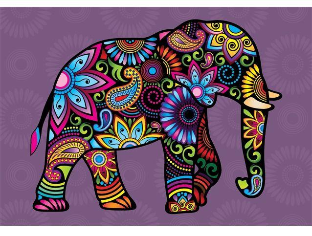 Виниловая наклейка на стену «Дивный слон» - купить дизайнерскую наклейку с разноцветным слоном.