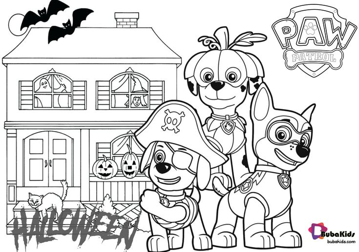 Paw patrol halloween haunted house coloring pages ...