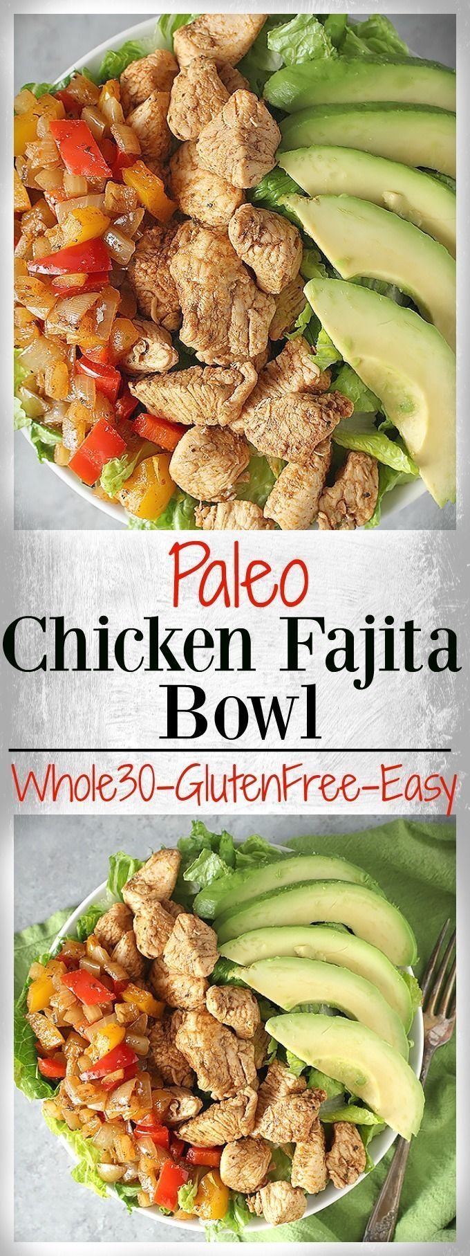 Paleo Chicken Fajita Bowl- an easy, healthy, complete meal in a bowl. Packed with juicy chicken and veggies. Whole30, gluten free, and dairy free.