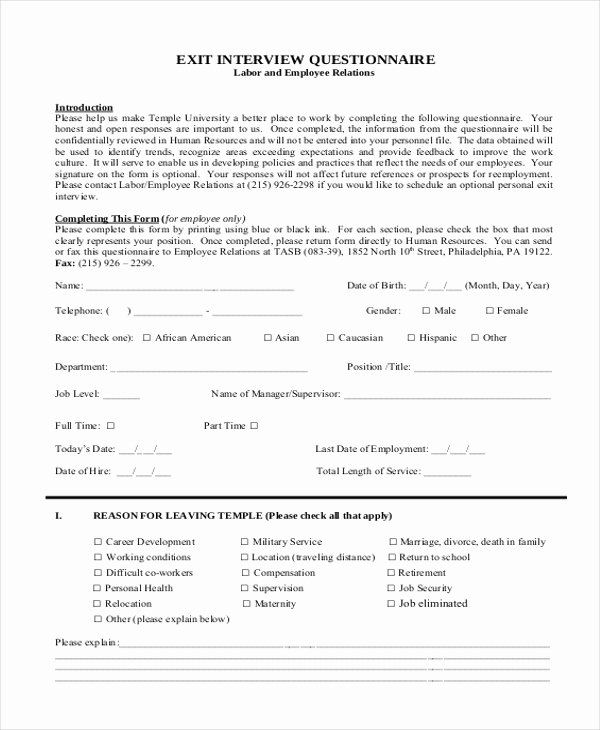 Exit Interview Form Pdf Fresh Sample Exit Interview Form 10 Free