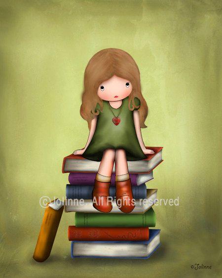 Girl sitting on books wall art print, girls room decor, nursery wall art, lime green, library decor, children art, kids wall art on Etsy, $15.00