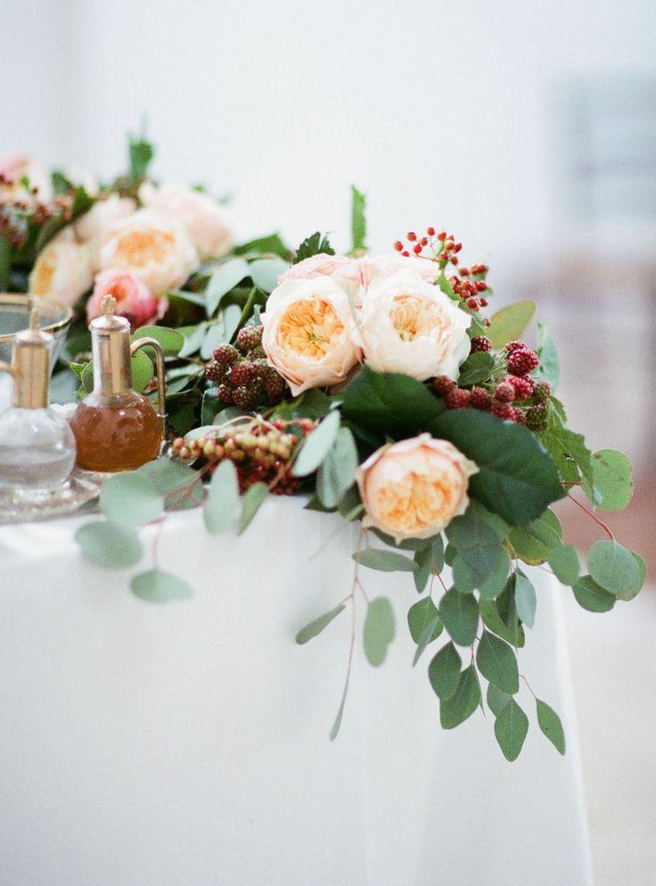 Blomstergirlanger till dukning — Sisters in Law - Bröllopsblogg