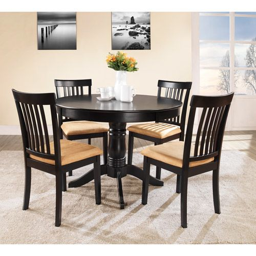 Lexington 5 Piece Round Table Dining Set With Mission Back Chairs, Black