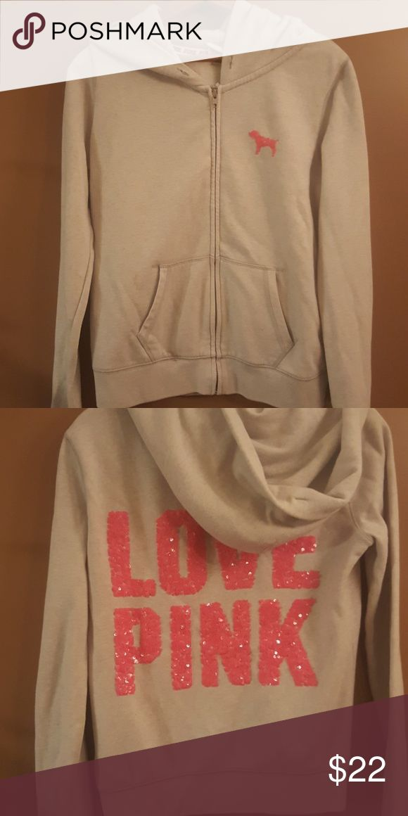 Love Pink Jacket Zip up Hoodie, gently used, light grey with pink sequin puppy. And Love Pink on the back. PINK Jackets & Coats