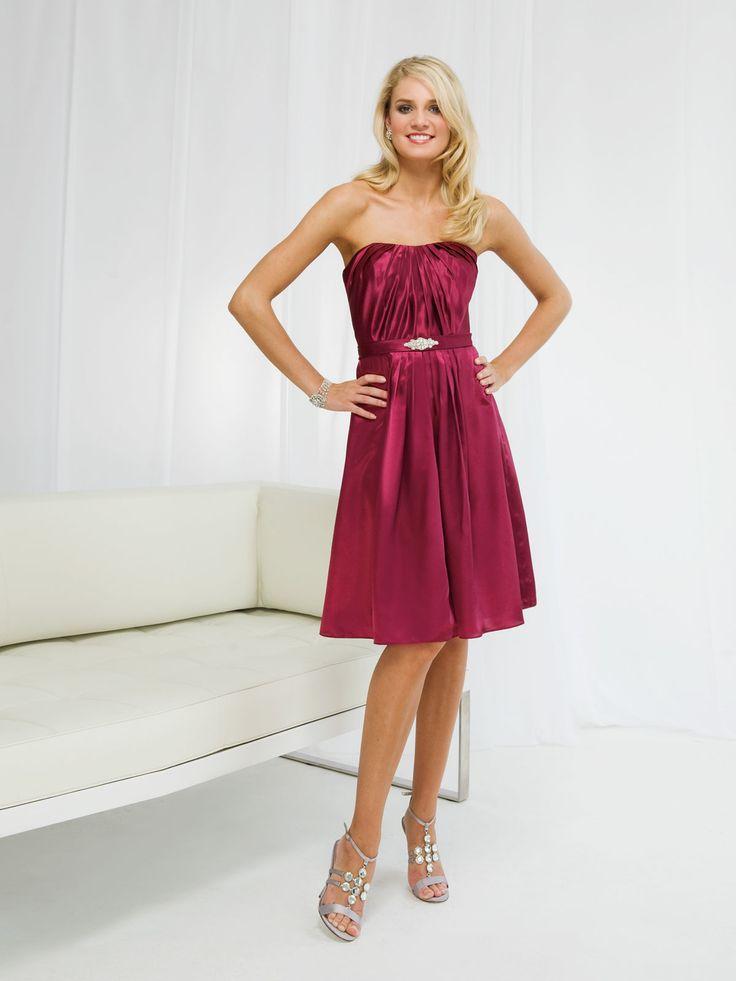 Elegant strapless beading embellishment bridesmaid dress