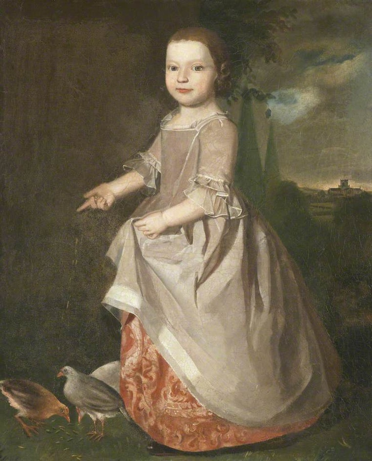 """Portrait of a Young Girl of the Machell Family of Aynsome Manor, Cartmel, Feeding Poultry"", Christopher Steele, ca. 1760; Lakeland Arts Trust LAT:2011.0002"