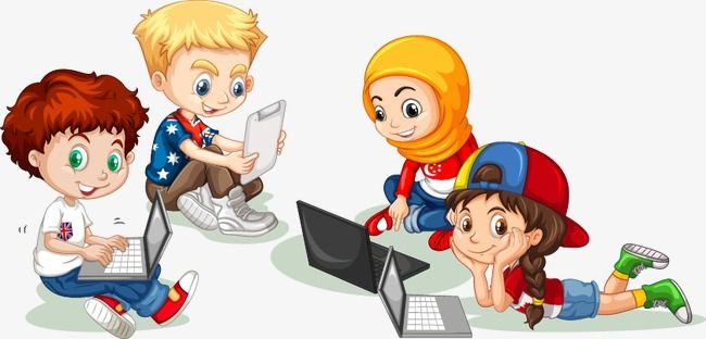 Cute Cartoon Criancas Computador Linda Cartoon As Criancas Imagem Png E Psd Para Download Gratuito School Cartoon Cartoon Preschool Kids