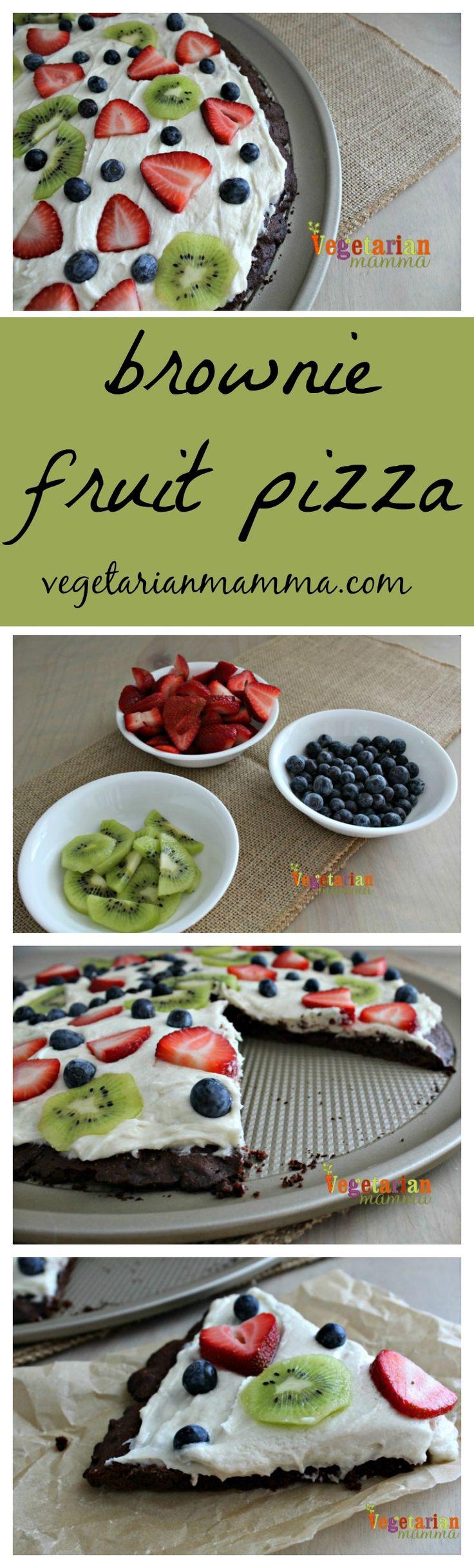 Brownie Fruit Pizza @Vegetarianmamma.com - #vegan #glutenfree #tothefullest #enjoylifefoods
