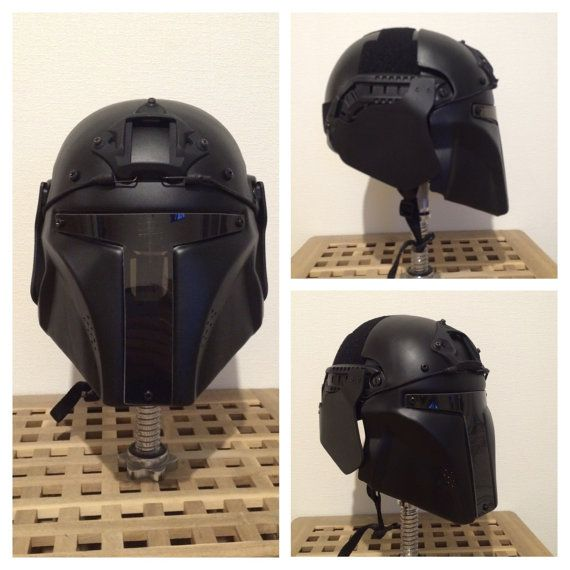 Mandalorian custom tactical helmet. Based on replica airsoft helmet - fast ops core. HELMET CAN BE USED FOR AIRSOFT The helmet can protect you from BB with the speed 160 m/s or 525 fps! VIDEO-TEST: https://youtu.be/XKaOTn3igwo The helmet is made from ABS plastic 4mm/0.16 inch. ABS plastic is LIGHTER, STRONGER, than a simple plastic. The visor is 3 mm / 0.12 in - polycarbonate (lexan). I test each new helmet (using airsoftgun with ballspeed 120 m/s or 394...