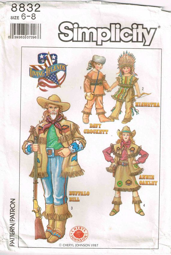 Davy Crockett Buffalo Bill Hiawatha Annie Oakley Sewing Pattern Halloween Costume or Theater Outfits Sewing Pattern Simplicity 8832  by PeoplePackages