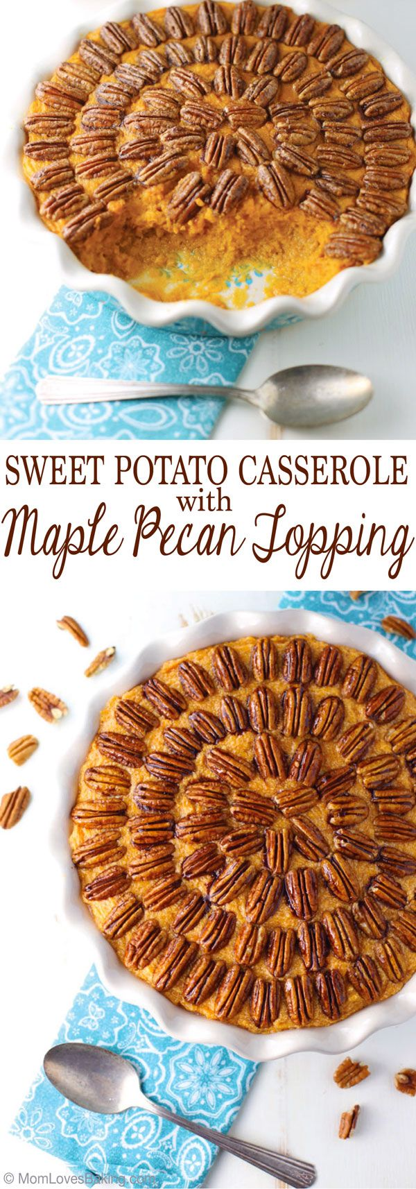 Sweet Potato Casserole with Maple Pecan Topping and Barber Foods Chicken is a delicious meal that you can have on the table in no time. Recipe is on MomLovesBaking.com. AD