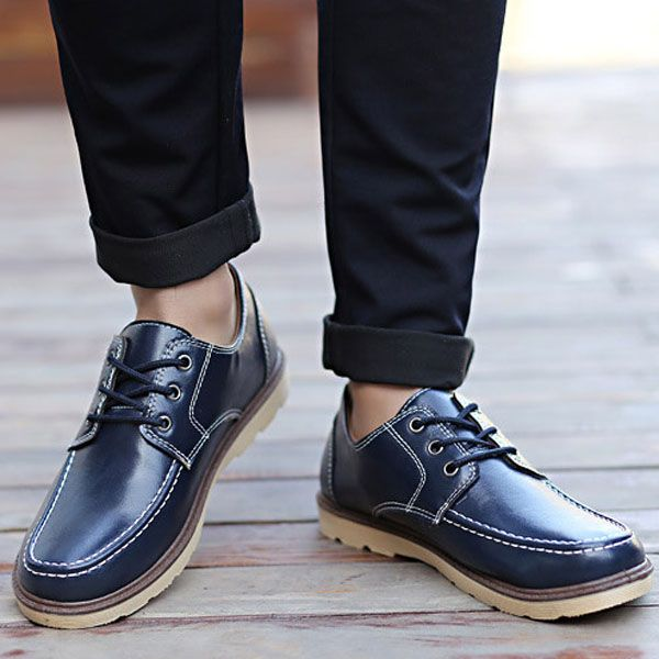 Lace Up Round Toe Casual Flat Shoes For Men