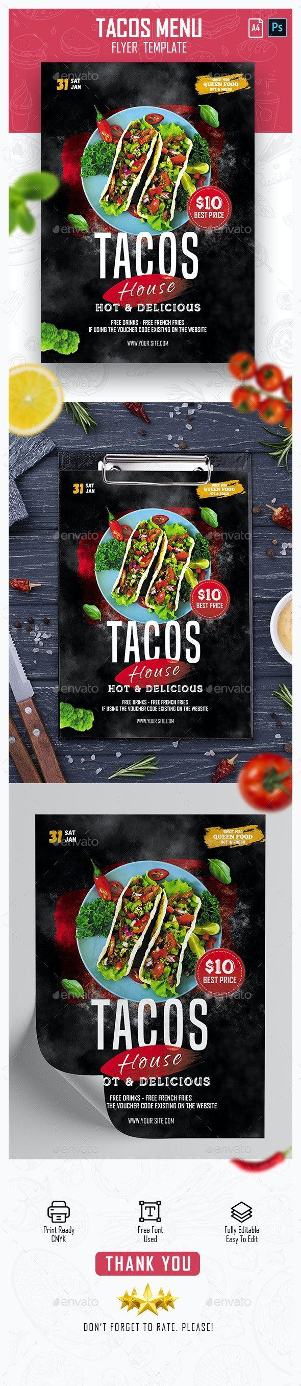 Tacos Menu Flyer Menu Flyer Tacos Menu Flyer