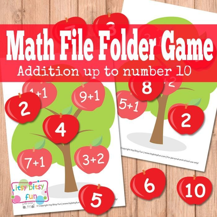 Apple Tree Math File Folder Game Free Printable - This one is all about learning simple math (addition) and is perfect for kindergarten / preschool as it has + 1 and + 2 addition only and with numbers from 2 to 10.