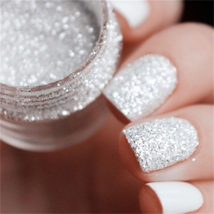 10ml/Box Mixed Laser Nail Glitter Tips White Silver Glitter Powder Shiny Nail Glitter Powder 1mm & 2mm & 3mm Nail Art Decoration