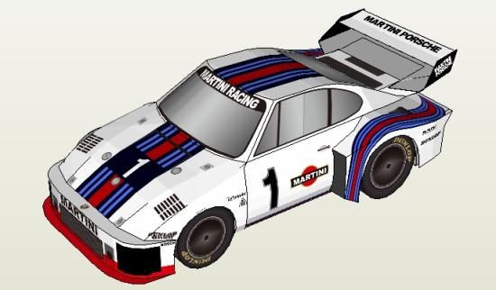 Porsche 935/76 Martini Racing Paper Model - by Oniya   ===            A very well done paper version of the Porsche 935/76 with Martini Racing logo, by Japanese website Oniya. To view and print this model you will need Pepakura Viewer Free Version (link at the end of this post).