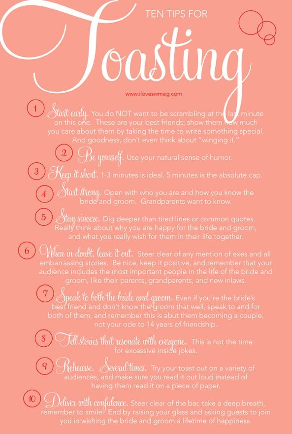 I pinned this for anyone who might want to toast at the wedding! I know I'd be nervous so this might be helpful!