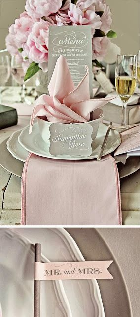 Pink and Grey Wedding creative table setting