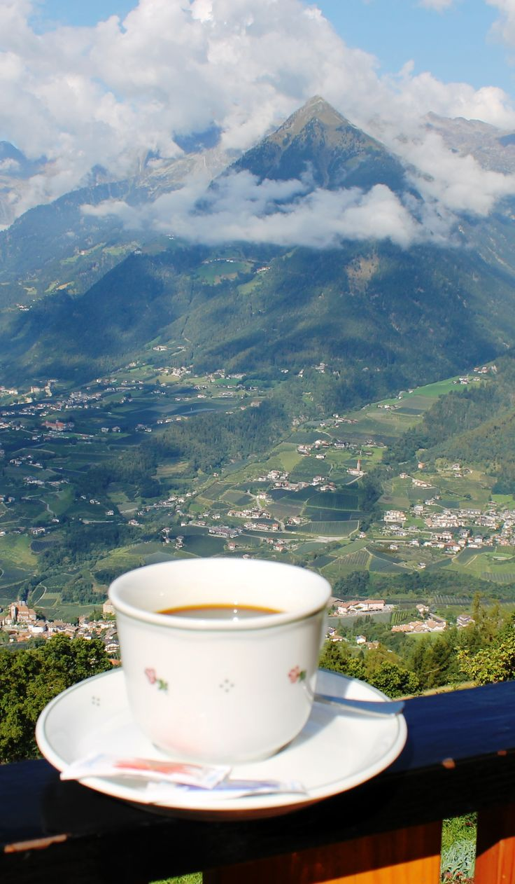 Fabulous Alpine mountain view with a cup of Italian coffee in South Tyrol, northern Italy