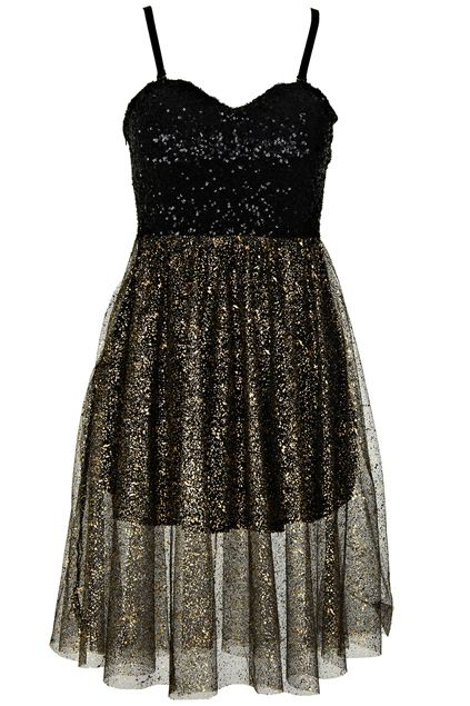 Black Sequined Golden Dress  #RomwePartyDress