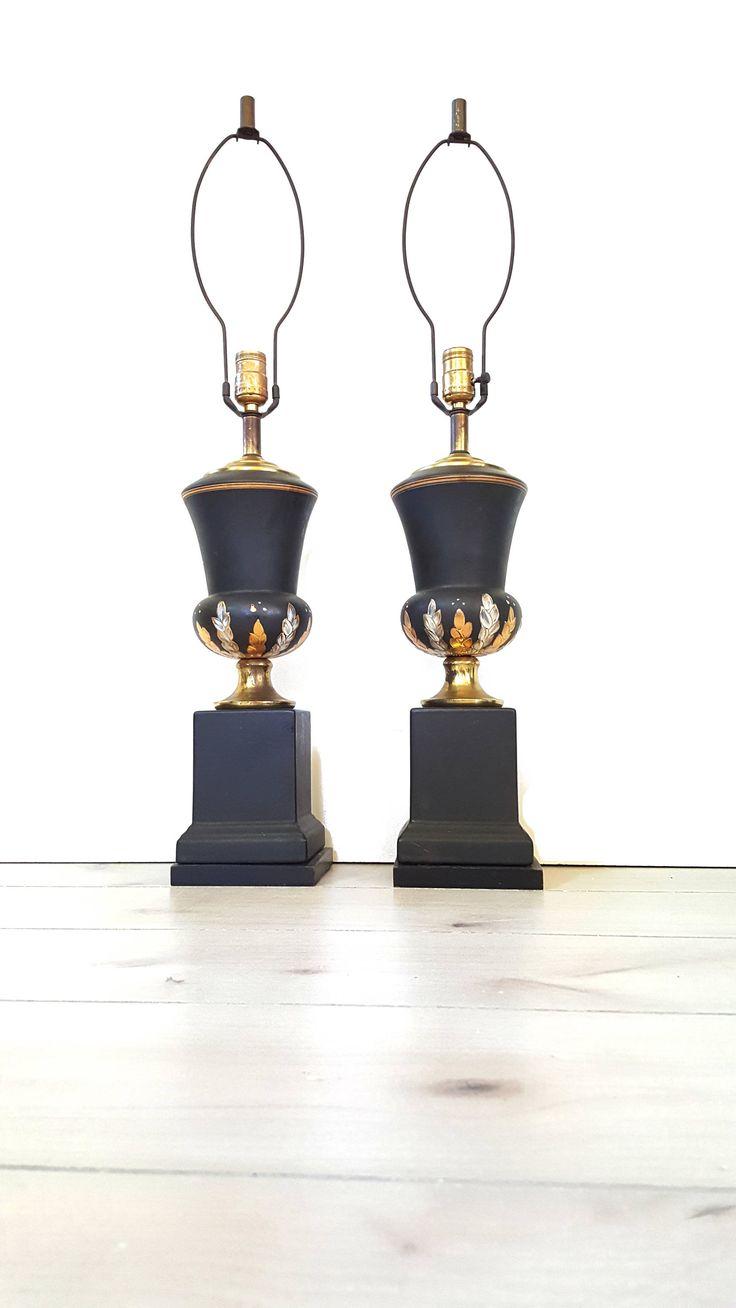 hollywood regency lighting. handpainted black urn lamps vintage gold silver painted flower trophy by luckyhomefinds flowershollywood regencyurnvintage hollywood regency lighting