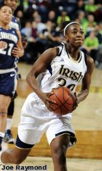 Kayla McBride scored 17 points, and Skylar Diggins had 15 points and nine assists as second-ranked Notre Dame cruised to its 10th straight victory, a 79-64 victory over Georgetown on Tuesday.